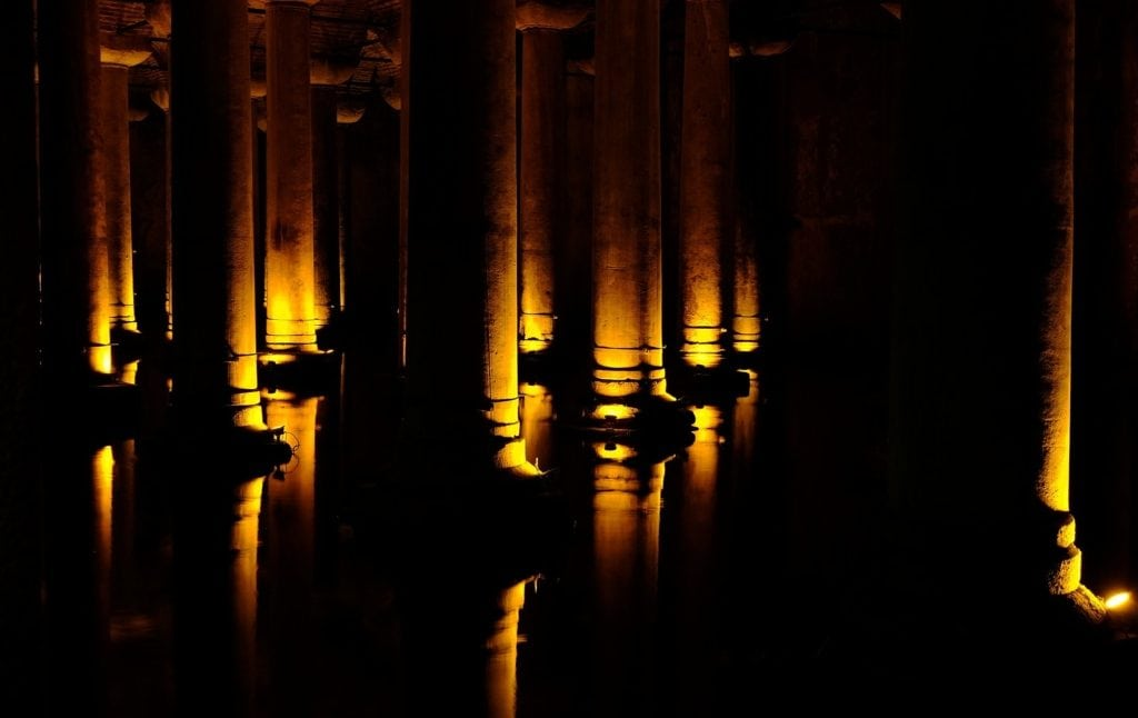Columns with uplight wall grazing lighting