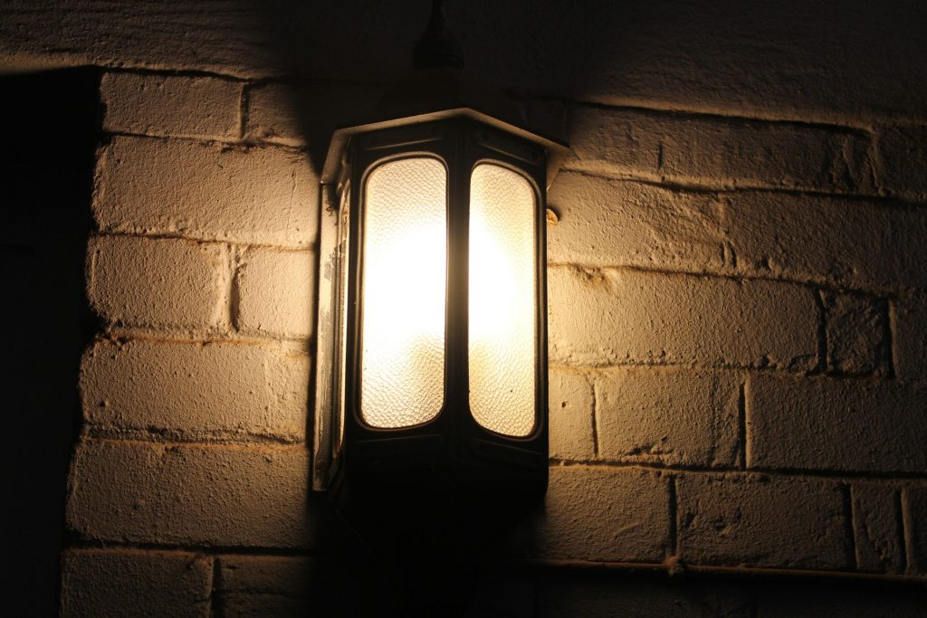 assembled and installed outdoor light fixture