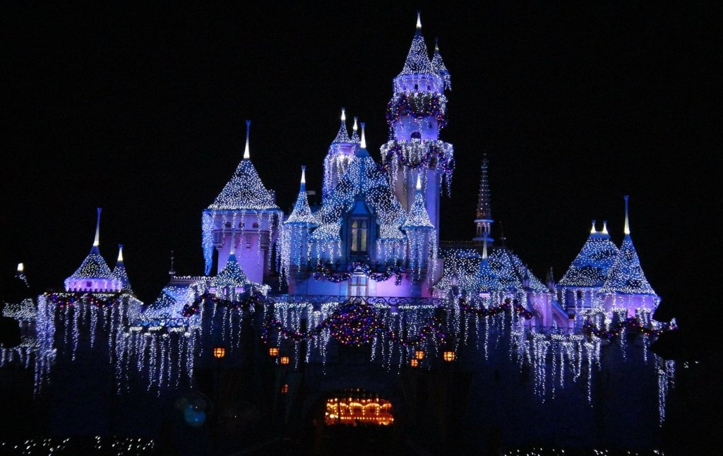 Disneyland lit up at night