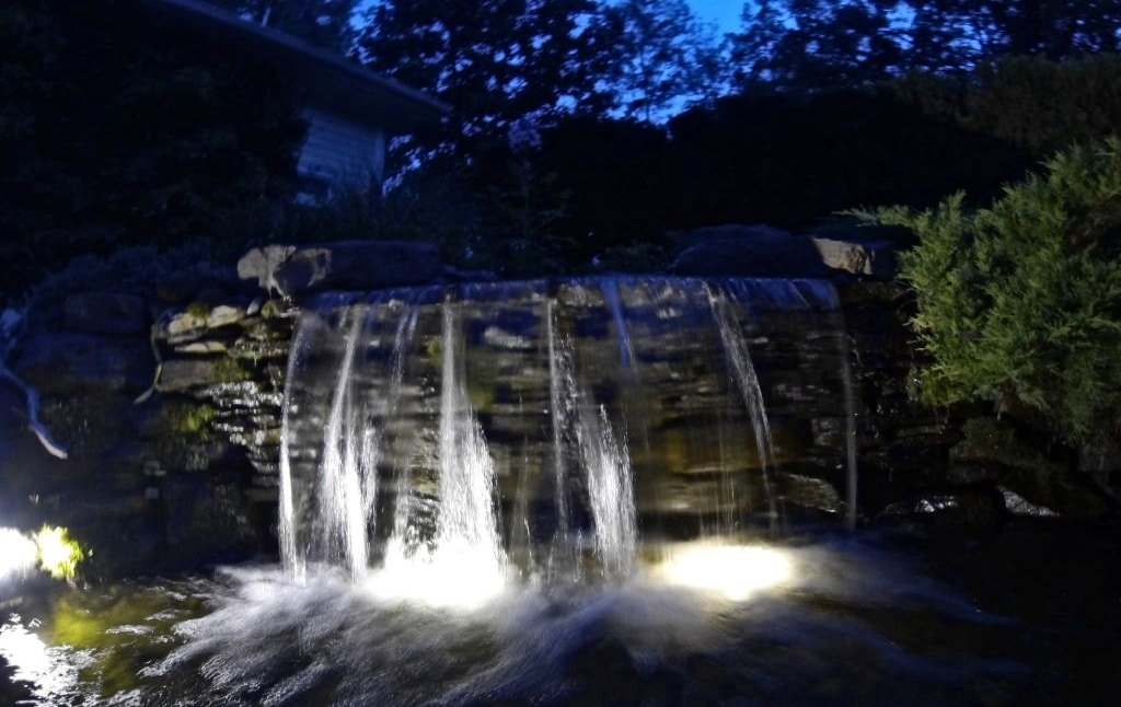 Single tier waterfall lighting for your water feature