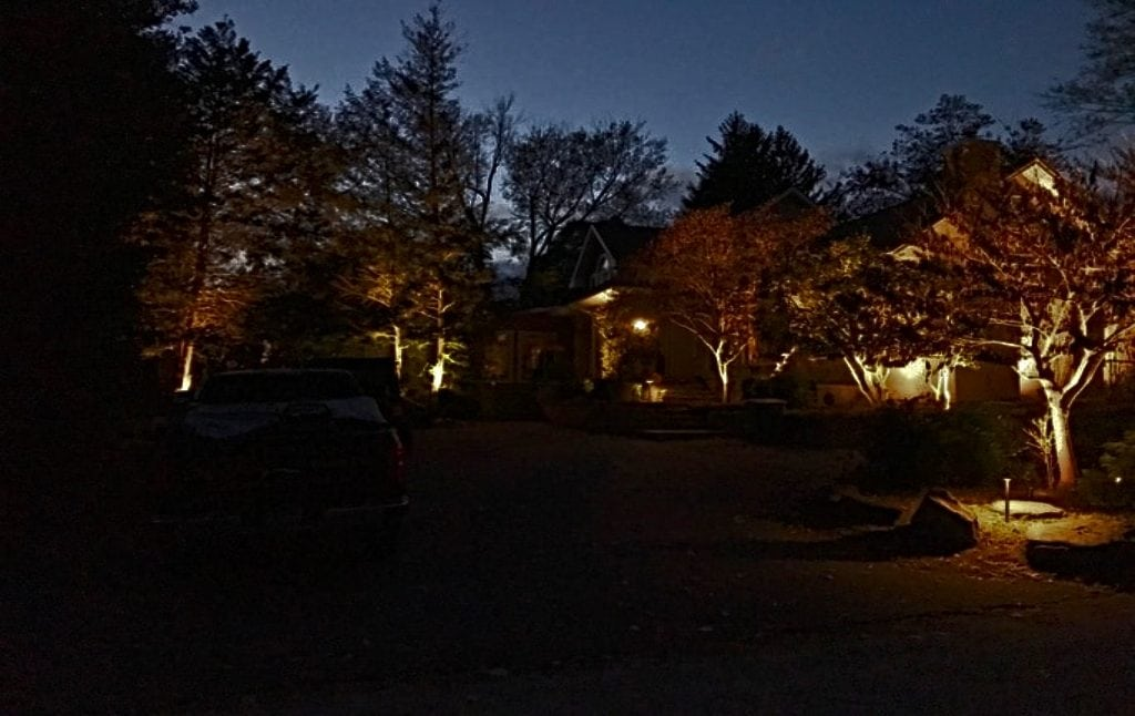 Outdoor lighting at the Dugan home in Silver Spring
