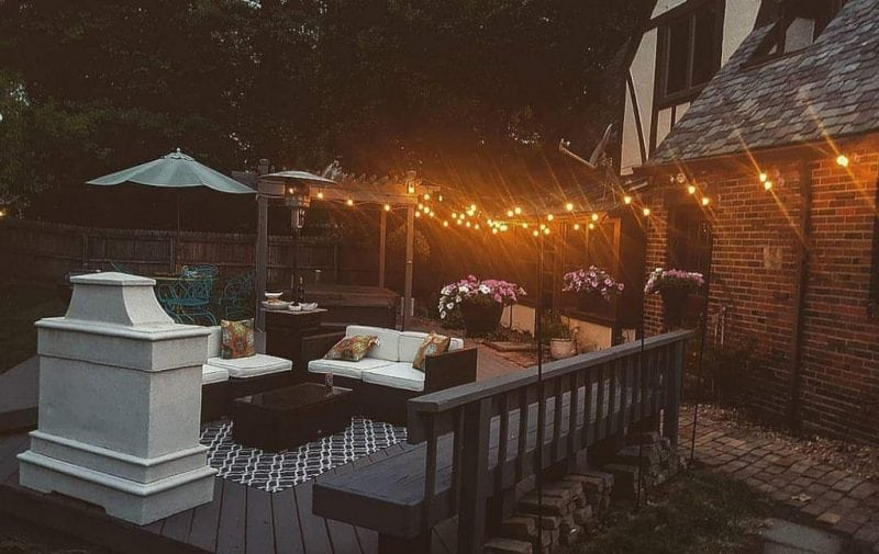 String lights used to illuminate an outdoor area