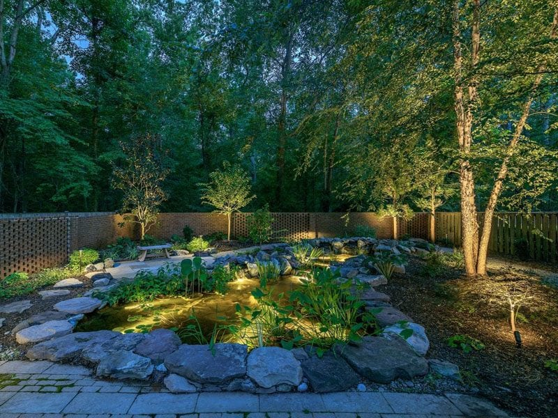 Underwater lighting transforming a water feature